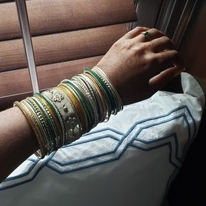 Jewelry - Indian Bangles in Silver, Gold, Green, and Blush